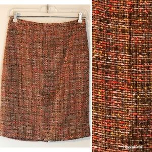 J Crew The Pencil Skirt Brown Orange Tweed, 00